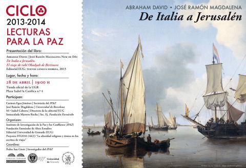 'DE ITALIA A JERUSALÉN' un nuevo título del Ciclo 'Lecturas para la Paz'